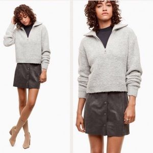 Wildfred Free Button Down Suede Grey Mini Skirt